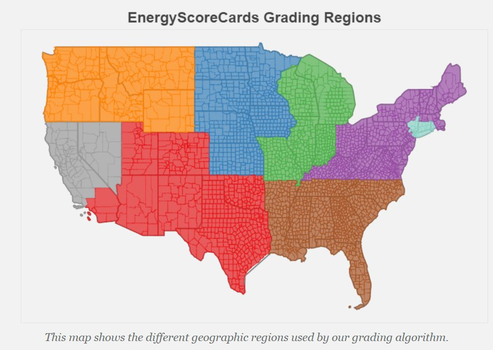 Bright Power's EnergyScoreCards Grading Regions