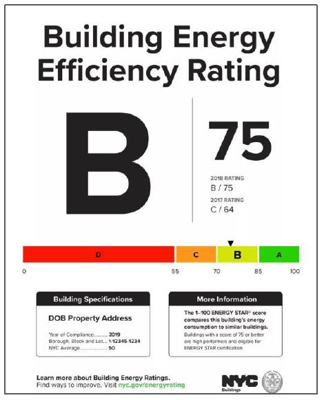 NYC LL33/95 building energy efficiency grade label sample